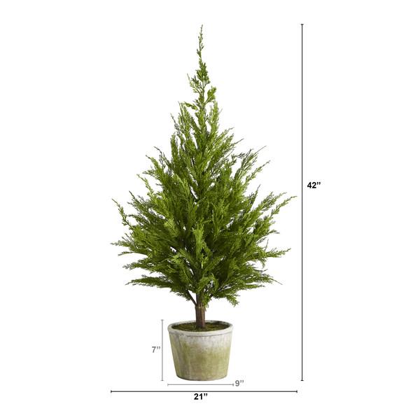 3.5 Cedar Pine Natural Look Artificial Tree in Decorative Planter - SKU #T1512 - 1
