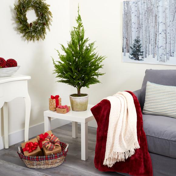 3.5 Cedar Pine Natural Look Artificial Tree in Decorative Planter - SKU #T1512 - 3