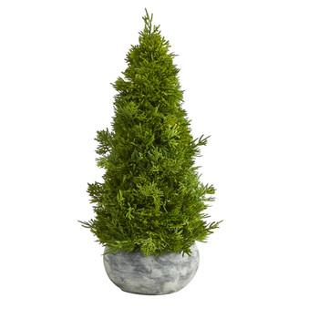 18 Cypress Cone Artificial Tree in Decorative Planter - SKU #T1513