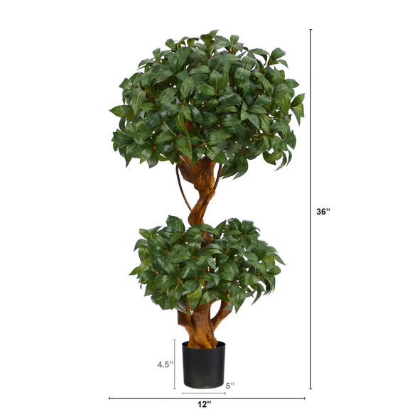 3 Sweet Bay Double Ball Topiary Artificial Tree - SKU #T1530 - 1