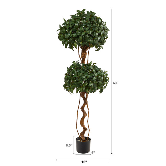 5 Sweet Bay Double Ball Topiary Artificial Tree - SKU #T1531 - 1