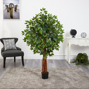 4.5 Super Deluxe Ficus Artificial Tree with Natural Trunk - SKU #T1549