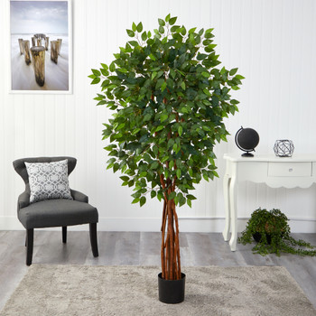 5.5 Super DeluxeNatural Trunk Ficus Artificial Tree with - SKU #T1550