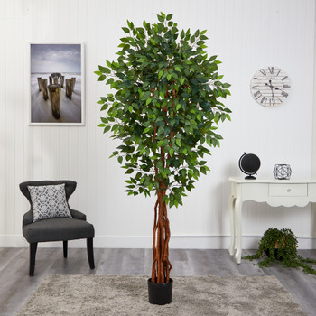 6.5 Super Deluxe Ficus Artificial Tree with Natural Trunk - SKU #T1551