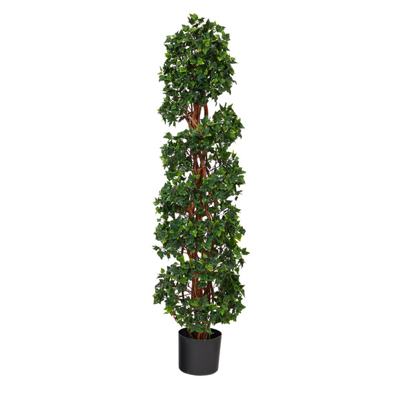 4.5 English Ivy Spiral Topiary Artificial Tree with Natural Trunk UV Resistant Indoor/Outdoor - SKU #T1554