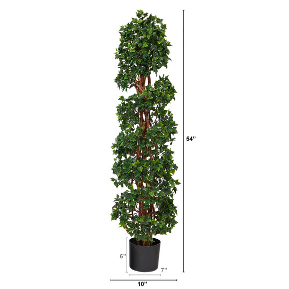 4.5 English Ivy Spiral Topiary Artificial Tree with Natural Trunk UV Resistant Indoor/Outdoor - SKU #T1554 - 1