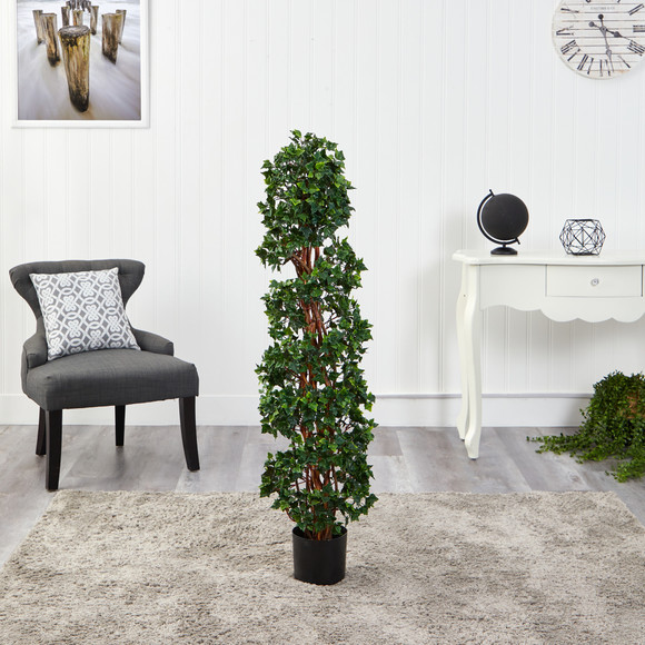 4.5 English Ivy Spiral Topiary Artificial Tree with Natural Trunk UV Resistant Indoor/Outdoor - SKU #T1554 - 2