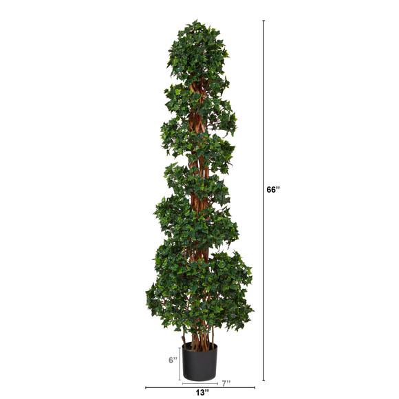 5.5 English Ivy Topiary Spiral Artificial Tree UV Resistant Indoor/Outdoor - SKU #T1555 - 1