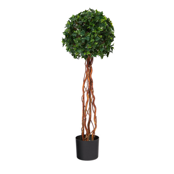 3.5 English Ivy Single Ball Topiary Artificial Tree with Natural Trunk UV Resistant Indoor/Outdoor - SKU #T1556