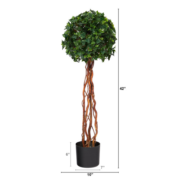3.5 English Ivy Single Ball Topiary Artificial Tree with Natural Trunk UV Resistant Indoor/Outdoor - SKU #T1556 - 1
