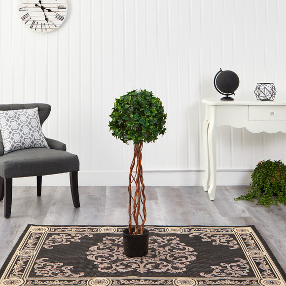 3.5 English Ivy Single Ball Topiary Artificial Tree with Natural Trunk UV Resistant Indoor/Outdoor - SKU #T1556 - 2