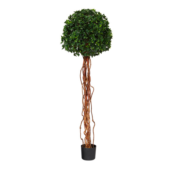 5.5 English Ivy Single Ball Artificial Topiary Tree with Natural Trunk UV Resistant Indoor/Outdoor - SKU #T1558