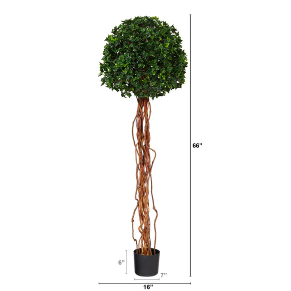5.5 English Ivy Single Ball Artificial Topiary Tree with Natural Trunk UV Resistant Indoor/Outdoor - SKU #T1558 - 1