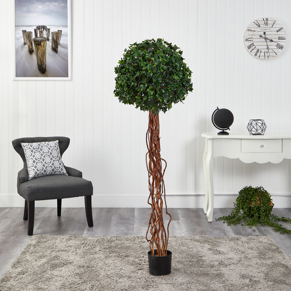 5.5 English Ivy Single Ball Artificial Topiary Tree with Natural Trunk UV Resistant Indoor/Outdoor - SKU #T1558 - 2