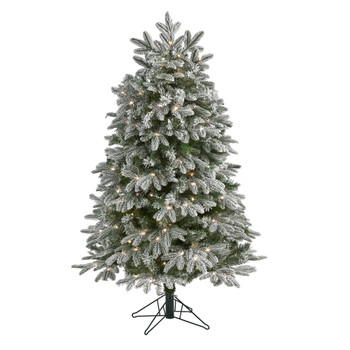 5 Flocked Colorado Mountain Fir Artificial Christmas Tree with 300 Warm White Microdot Multifunction LED Lights with Instant Connect Technology and 511 Bendable Branches - SKU #T1574