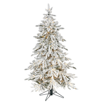 5 Flocked Grand Northern Rocky Fir Artificial Christmas Tree with 650 Warm Micro Multifunction with Remote Control LED Lights Instant Connect Technology and 386 Bendable Branches - SKU #T1575