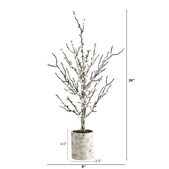 24 Snowed Twig Artificial Tree in Decorative Planter - SKU #T1596 - 1