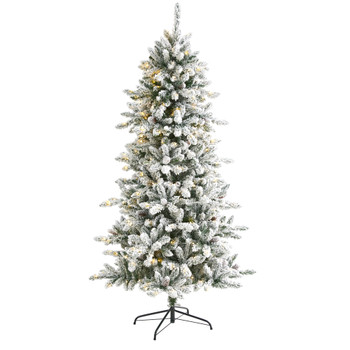6.5 Flocked Livingston Fir Artificial Christmas Tree with Pine Cones and 300 Clear Warm LED Lights - SKU #T1612