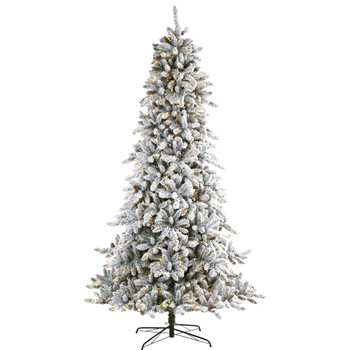 9 Flocked Livingston Fir Artificial Christmas Tree with Pine Cones and 650 Clear Warm LED Lights - SKU #T1614
