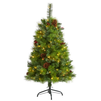 4 Montana Mixed Pine Artificial Christmas Tree with Pine Cones Berries and 150 Clear LED Lights - SKU #T1620