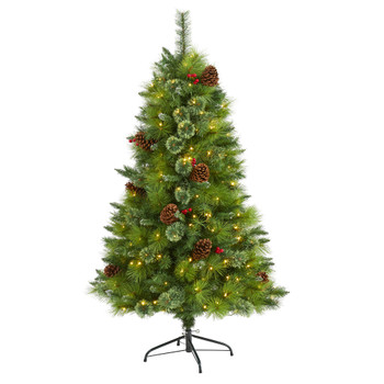 5 Montana Mixed Pine Artificial Christmas Tree with Pine Cones Berries and 250 Clear LED Lights - SKU #T1621