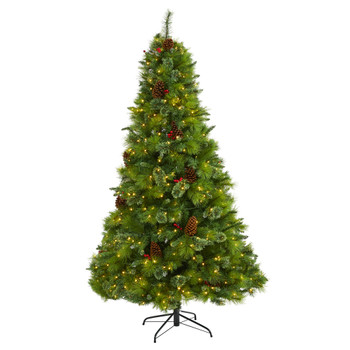 7 Montana Mixed Pine Artificial Christmas Tree with Pine Cones Berries and 500 Clear LED Lights - SKU #T1623