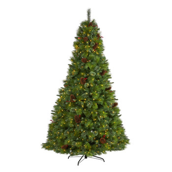 8 Montana Mixed Pine Artificial Christmas Tree with Pine Cones Berries and 700 Clear LED Lights - SKU #T1624