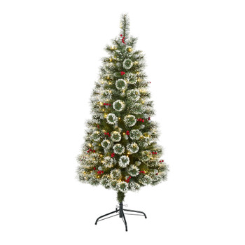 5 Frosted Swiss Pine Artificial Christmas Tree with 200 Clear LED Lights and Berries - SKU #T1627