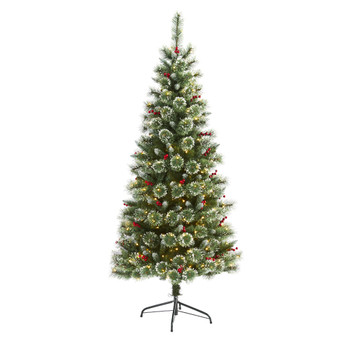 6 Frosted Swiss Pine Artificial Christmas Tree with 300 Clear LED Lights and Berries - SKU #T1628