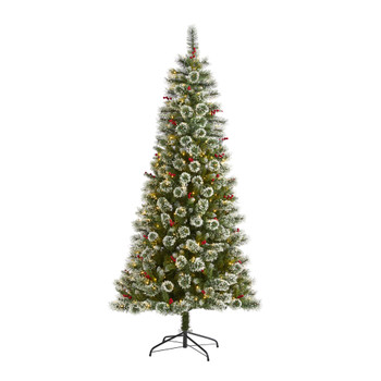 7 Frosted Swiss Pine Artificial Christmas Tree with 400 Clear LED Lights and Berries - SKU #T1629