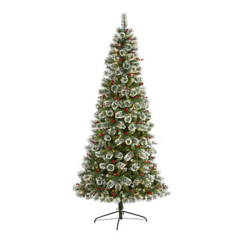 8 Frosted Swiss Pine Artificial Christmas Tree with 550 Clear LED Lights and Berries - SKU #T1630