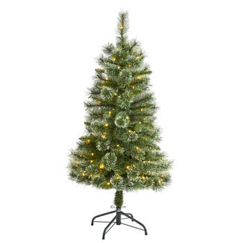 4 Wisconsin Slim Snow Tip Pine Artificial Christmas Tree with 100 Clear LED Light - SKU #T1633