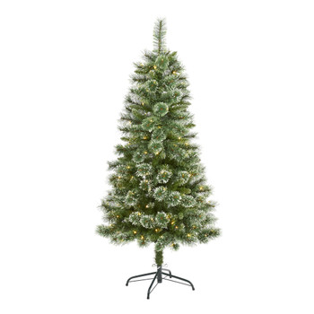 5 Wisconsin Slim Snow Tip Pine Artificial Christmas Tree with 150 Clear LED Lights - SKU #T1634