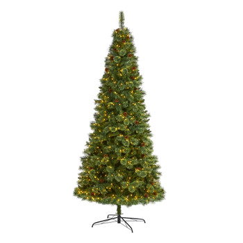9 White Mountain Pine Artificial Christmas Tree with 650 Clear LED Lights and Pine Cones - SKU #T1643