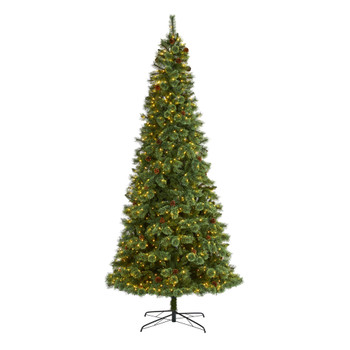 10 White Mountain Pine Artificial Christmas Tree with 850 Clear LED Lights and Pine Cones - SKU #T1644