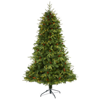 7 Wellington Spruce Natural Look Artificial Christmas Tree with 400 Clear LED Lights and Pine Cones - SKU #T1661
