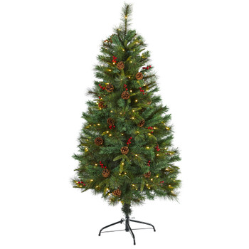 5 Mixed Pine Artificial Christmas Tree with 150 Clear LED Lights Pine Cones and Berries - SKU #T1669
