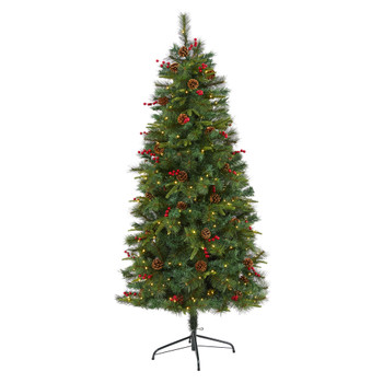 6 Mixed Pine Artificial Christmas Tree with 250 Clear LED Lights Pine Cones and Berries - SKU #T1670
