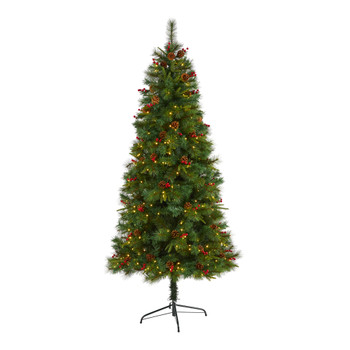 7 Mixed Pine Artificial Christmas Tree with 350 Clear LED Lights Pine Cones and Berries - SKU #T1671
