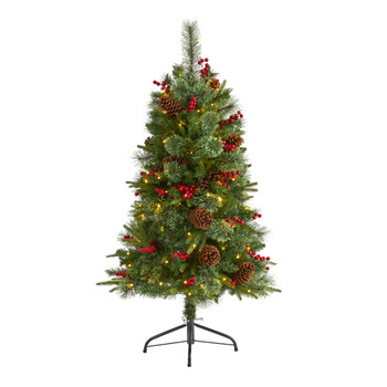 4 Norway Mixed Pine Artificial Christmas Tree with 150 Clear LED Lights Pine Cones and Berries - SKU #T1673
