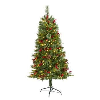 5 Norway Mixed Pine Artificial Christmas Tree with 200 Clear LED Lights Pine Cones and Berries - SKU #T1674
