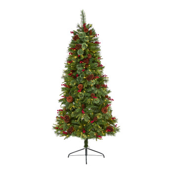 6.5 Norway Mixed Pine Artificial Christmas Tree with 350 Clear LED Lights Pine Cones and Berries - SKU #T1675