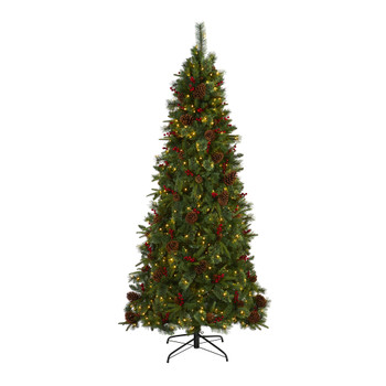 7.5 Norway Mixed Pine Artificial Christmas Tree with 450 Clear LED Lights Pine Cones and Berries - SKU #T1676