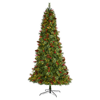 9 Norway Mixed Pine Artificial Christmas Tree with 650 Clear LED Lights Pine Cones and Berries - SKU #T1677