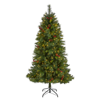 6 Aberdeen Spruce Artificial Christmas Tree with 350 Clear LED Lights Pine Cones and Red Berries - SKU #T1678