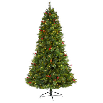 7 Aberdeen Spruce Artificial Christmas Tree with 500 Clear LED Lights Pine Cones and Red Berries - SKU #T1679