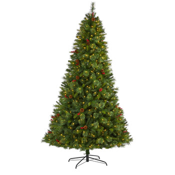 8 Aberdeen Spruce Artificial Christmas Tree with 500 Clear LED Lights Pine Cones and Red Berries - SKU #T1680
