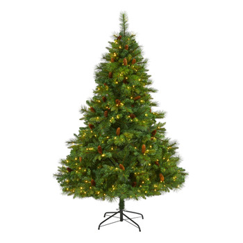 6 West Virginia Full Bodied Mixed Pine Artificial Christmas Tree with 300 Clear LED Lights and Pine Cones - SKU #T1681