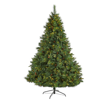 7.5 West Virginia Full Bodied Mixed Pine Artificial Christmas Tree with 600 Clear LED Lights and Pine Cones - SKU #T1684