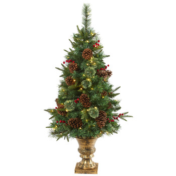 4 Pine Pinecone and Berries Artificial Christmas Tree in Decorative Urn - SKU #T1691